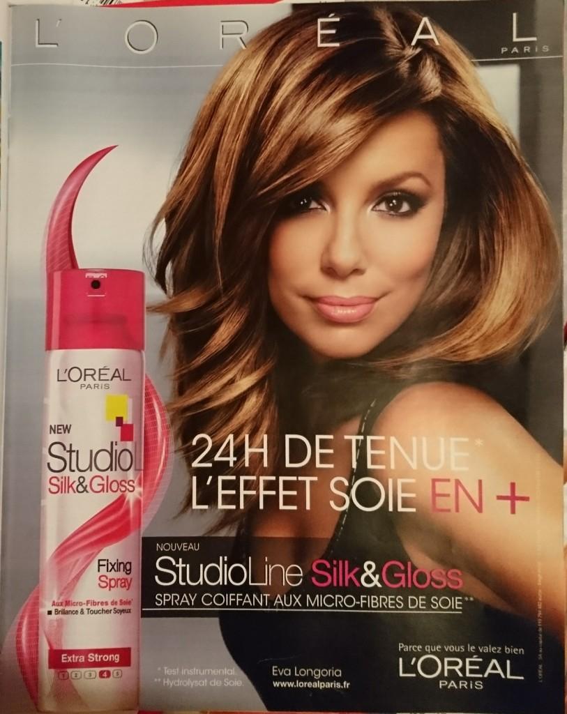 Publicité Studio Line L'Oréal avec Eva Longoria